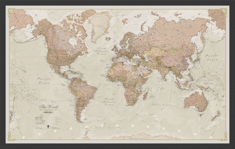 Small Antique World Map (Pinboard & wood frame - Black)
