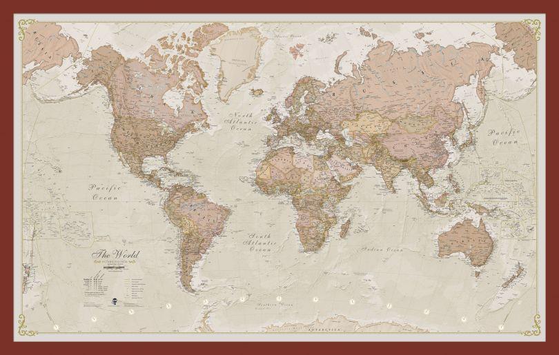 Small Antique World Map (Pinboard & framed - Dark Oak)