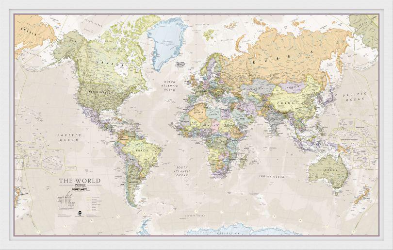 Medium Classic World Map (Wood Frame - White)