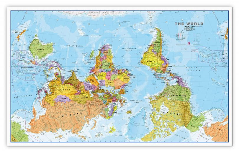 Large Upside Down World Wall Map Political (Canvas)
