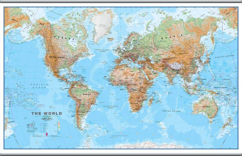 Huge World Wall Map Physical (Hanging bars)