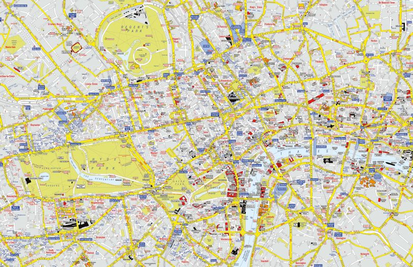 Medium A-Z Visitors' Map London (Rolled Canvas - No Frame)