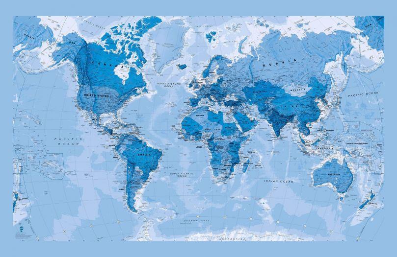 Blue World Map Wallpaper