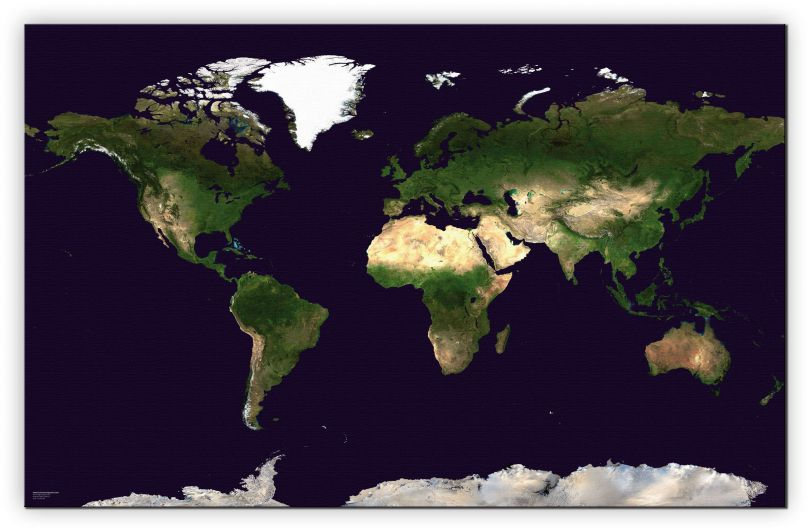 Huge Satellite Map of the World (Canvas)