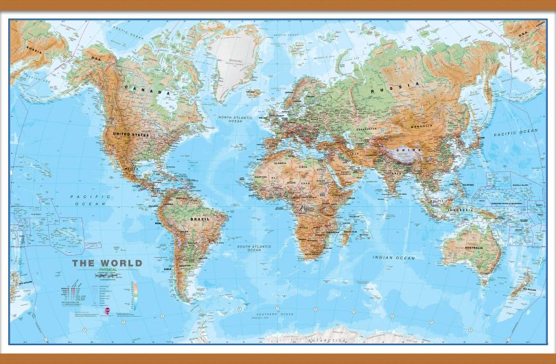 Large World Wall Map Physical (Wooden hanging bars)