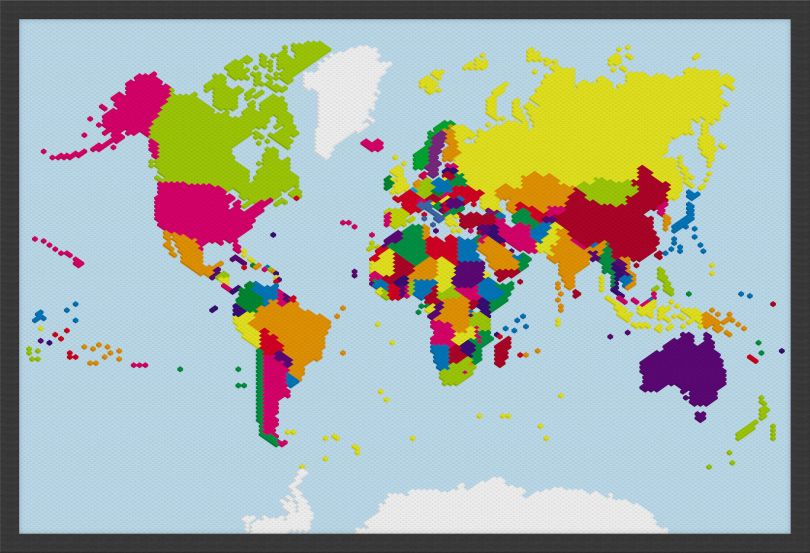 Small Building Blocks Map of the World (Wood Frame - Black)
