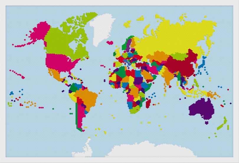Small Building Blocks Map of the World (Wood Frame - White)