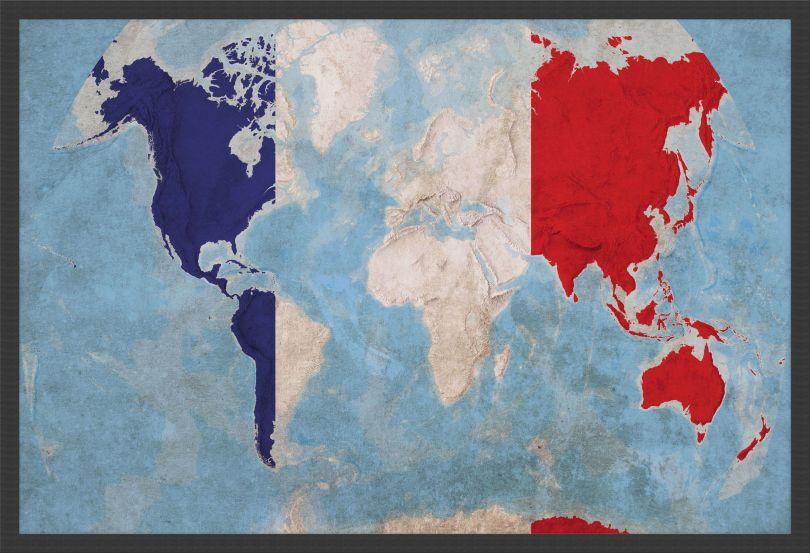 Medium France Flag Map of the World (Wood Frame - Black)