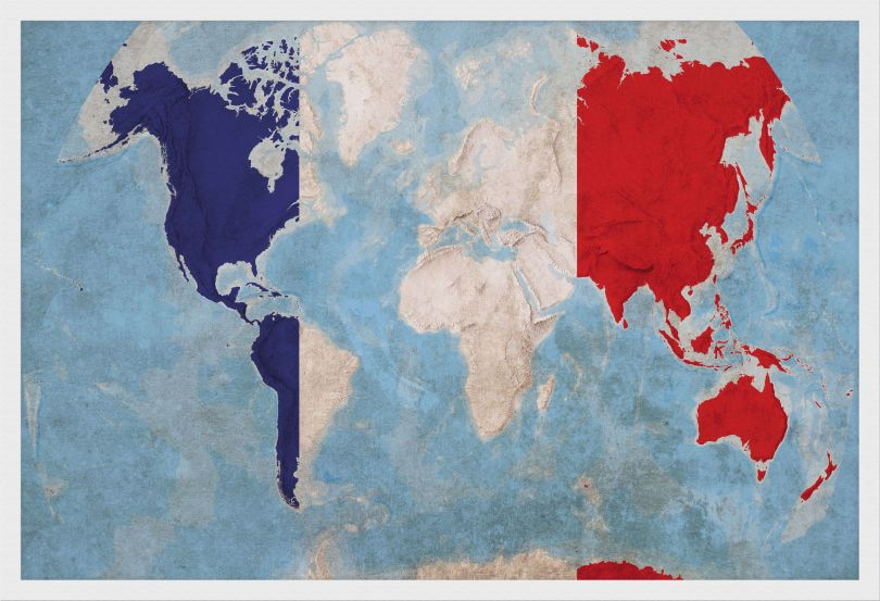 Medium France Flag Map of the World (Wood Frame - White)