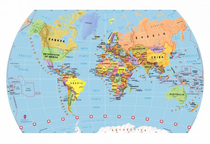White Children's World Map Wallpaper