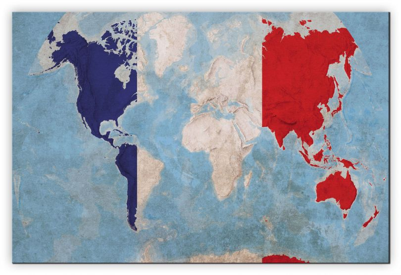 Huge France Flag Map of the World (Canvas)