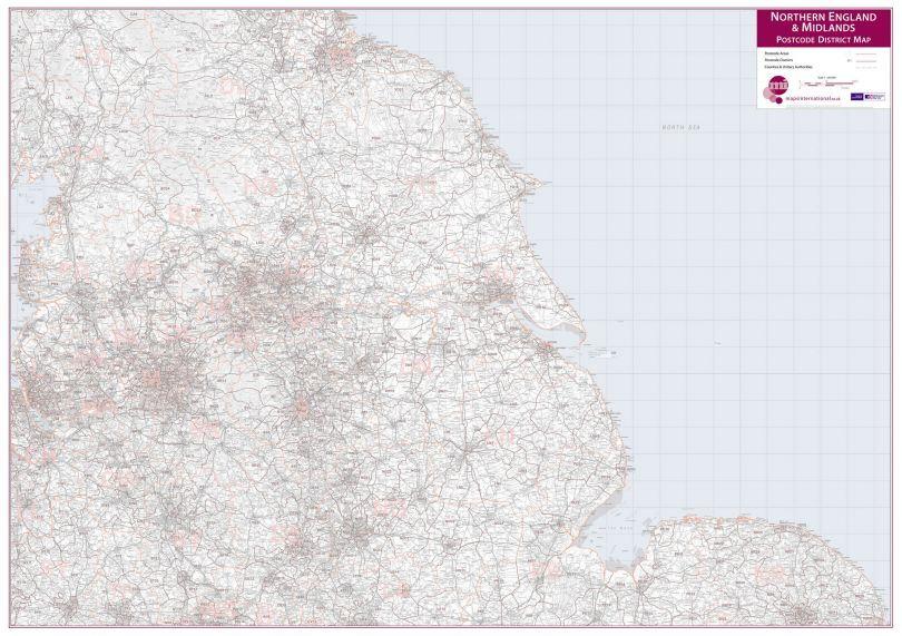 Northern England and the Midlands Postcode District Map