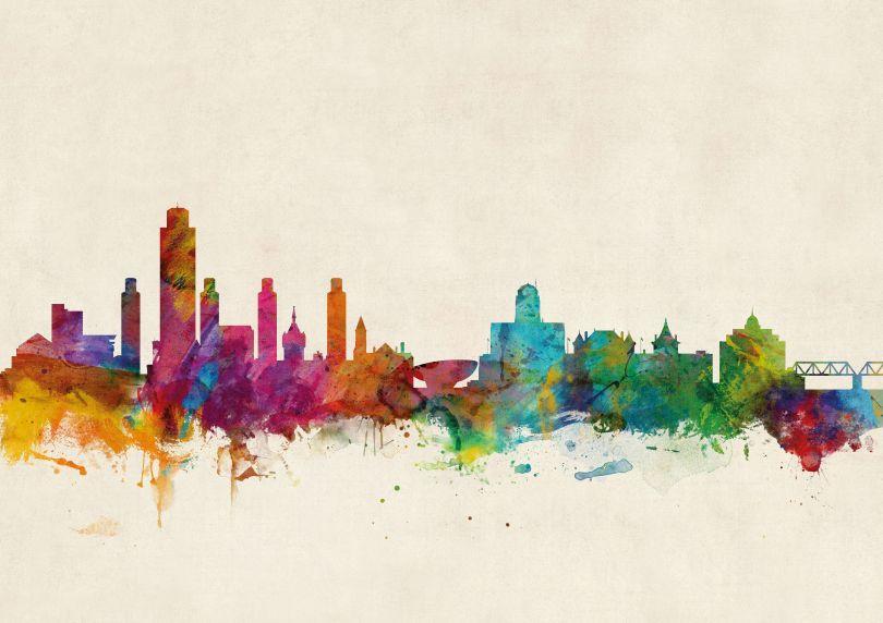 Albany New York Watercolour Skyline