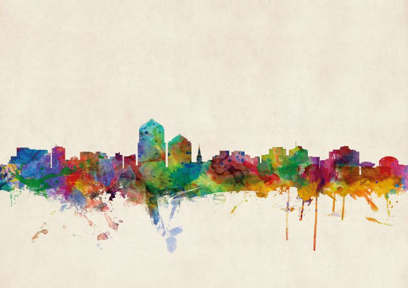 Large Albuquerque New Mexico Watercolour Skyline (Rolled Canvas - No Frame)