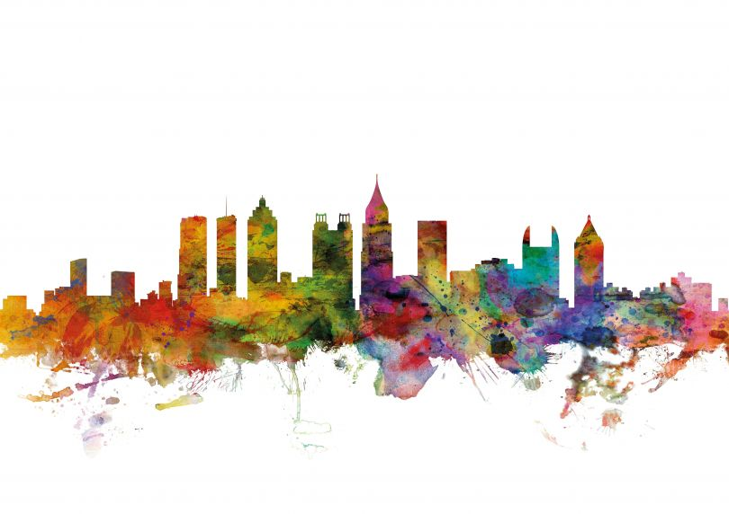 Atlanta Georgia Watercolour Skyline