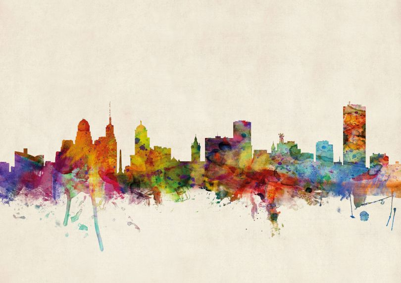 Buffalo New York Watercolour Skyline