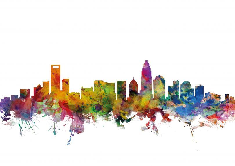 Charlotte North Carolina Watercolour Skyline