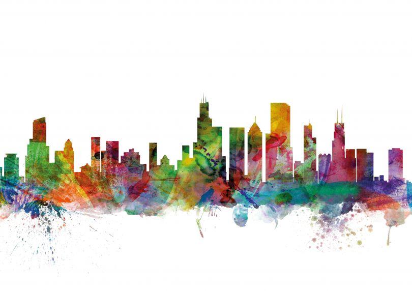 Chicago Illinois Watercolour Skyline