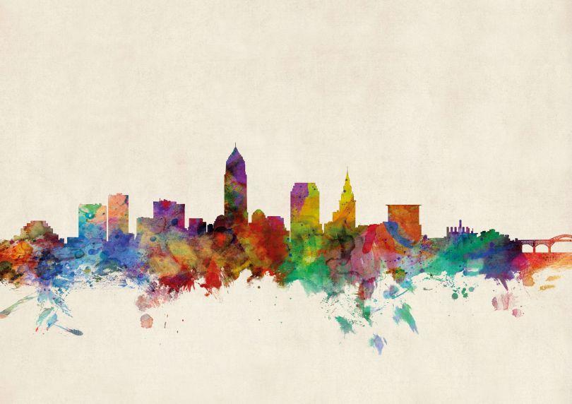 Cleveland Ohio Watercolour Skyline