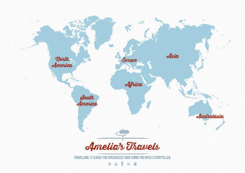 Personalised Travel Map of the World - Aqua