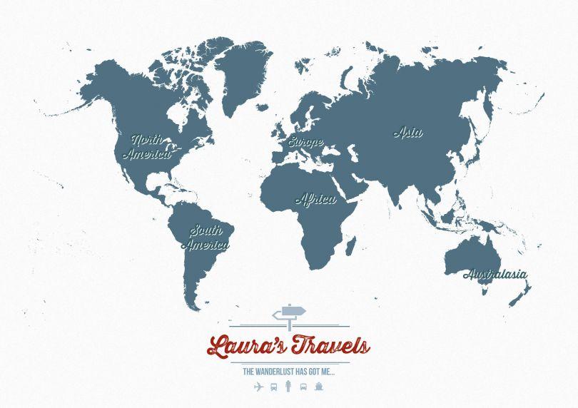 Medium Personalised Travel Map of the World - Teal (Raster digital)