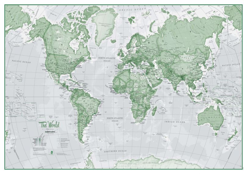 Large The World Is Art - Wall Map Green (Magnetic board and frame)