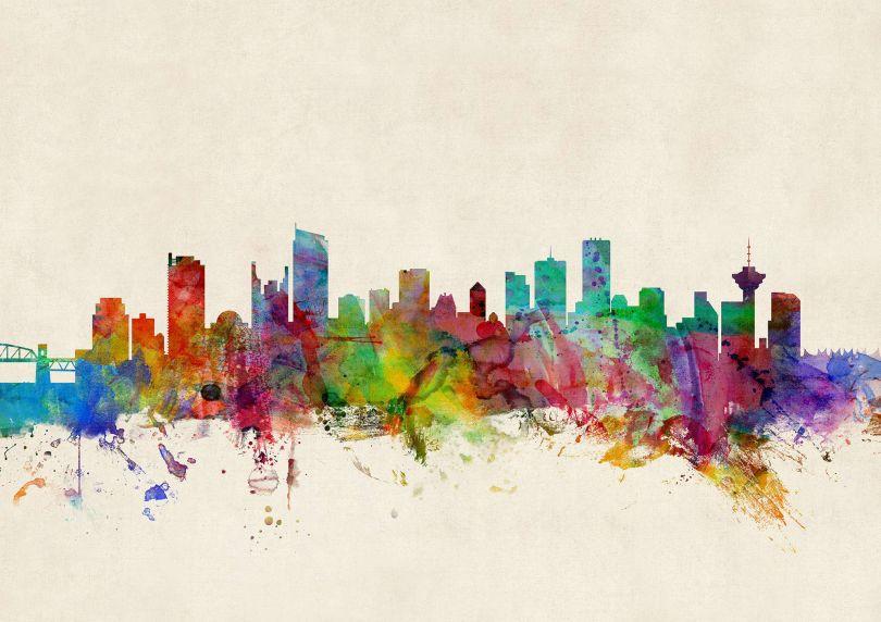 Vancouver Canada Watercolour Skyline