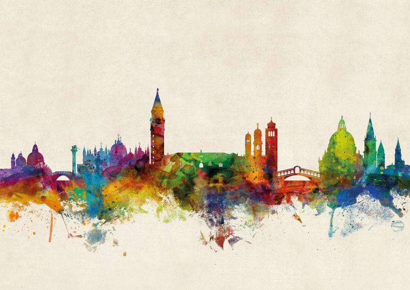 Medium Venice Watercolour Skyline (Silk Art Paper)
