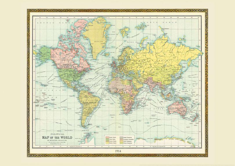 Vintage Bartholomew Political World Map 1914