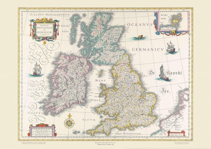 Vintage British Isles World Map Willem and Johan Blaeu 17th Century
