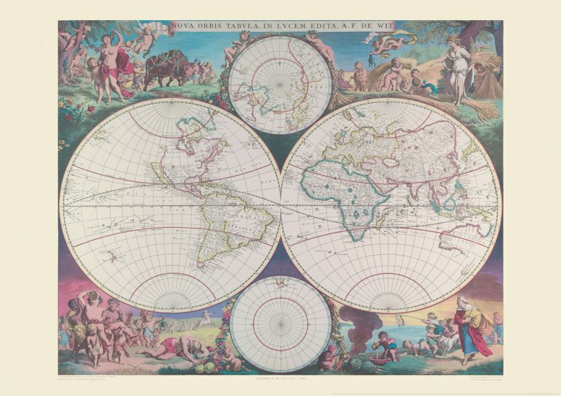 Small Vintage Double Hemisphere World Map 1689 (Rolled Canvas - No Frame)