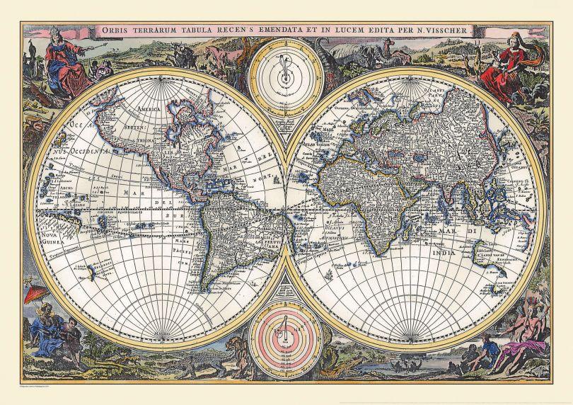 Vintage Double Hemisphere World Map 1700