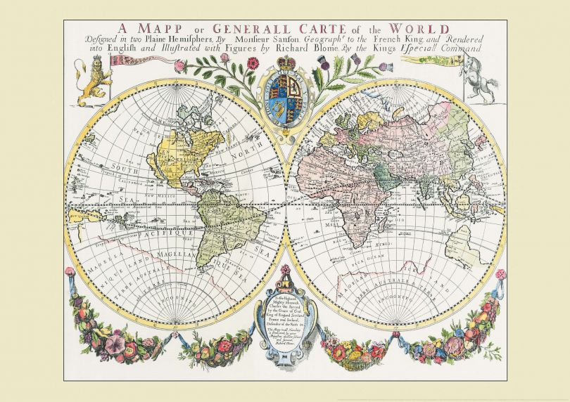 Vintage French Double Hemisphere World Map c1700