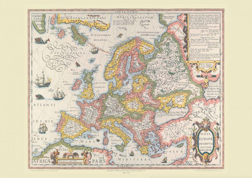Vintage Gerard Mercator Europe Map 1606