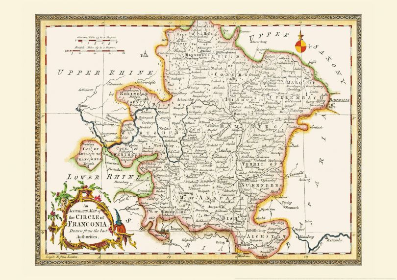 Small Vintage Map of Franconia (Rolled Canvas - No Frame)
