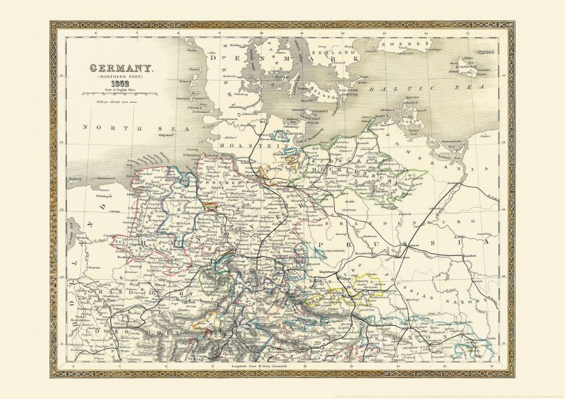 Medium Vintage Map of Northern Germany (Rolled Canvas - No Frame)