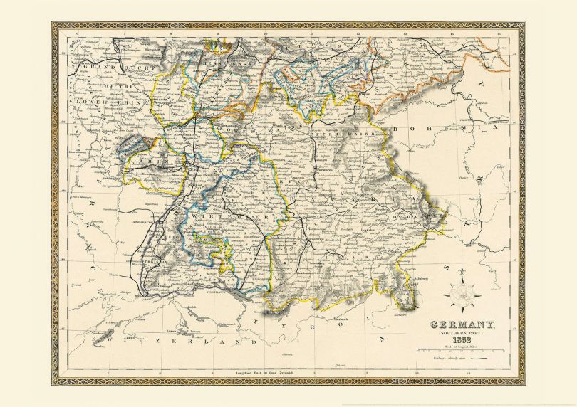 Large Vintage Map of Southern Germany (Rolled Canvas - No Frame)
