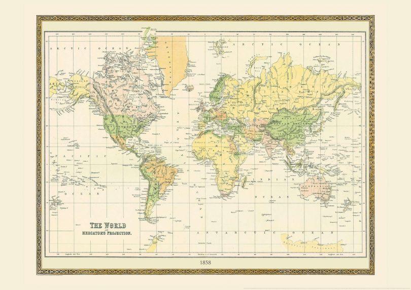 Vintage Mercators Projection World Map 1858