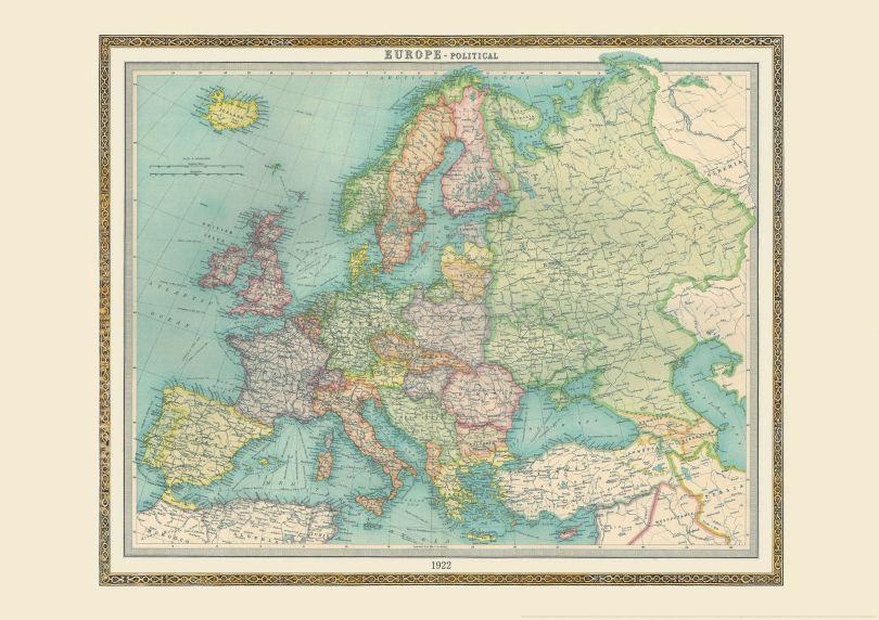 Vintage Political Europe Map 1922