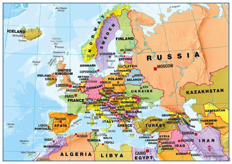 Deskmap - Europe political A3, pack of ten (Deskmap)