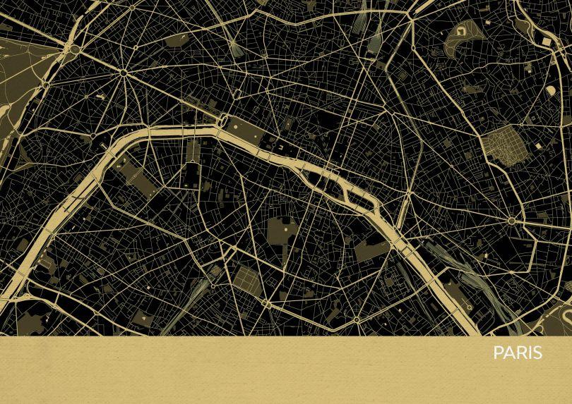 A4 Paris City Street Map Print Straw (Matt Art Paper)