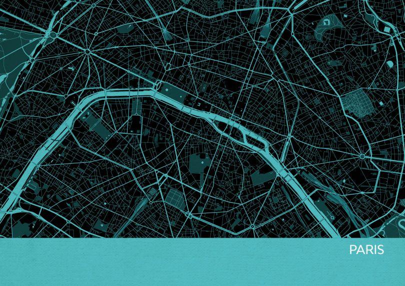 Small Paris City Street Map Print Turquoise (Matt Art Paper)