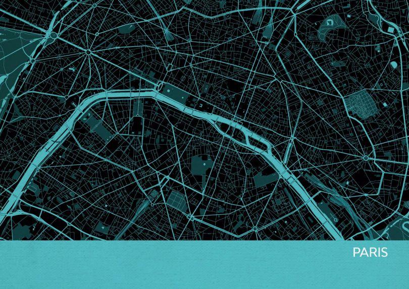 Paris City Street Map Print Turquoise