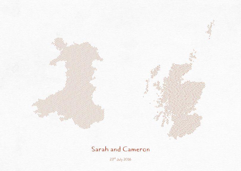 Small Personalised Country Name Text Map Print - Burnt Orange (Matt Art Paper)