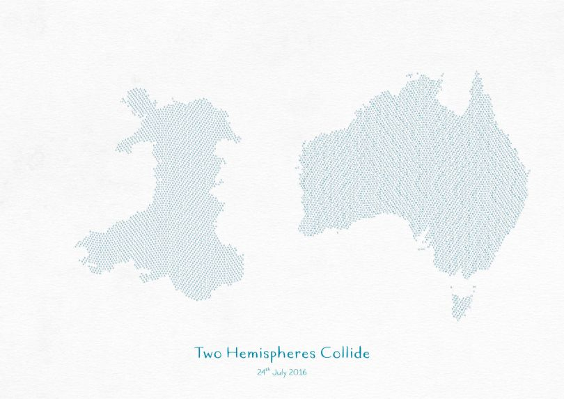 Personalised Country Name Text Map Print - Petrol Blue
