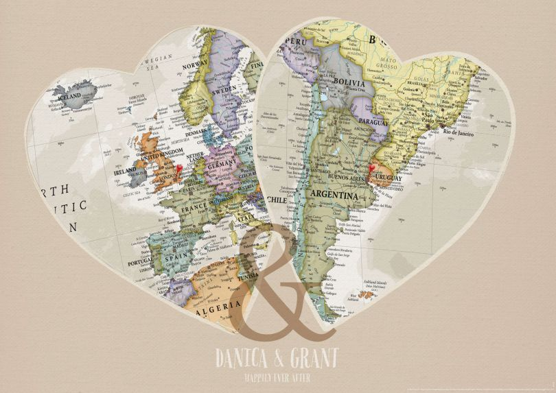 Personalised Location Map Hearts Print