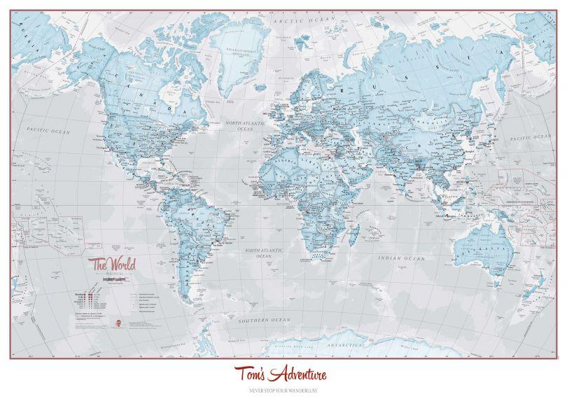 Huge Personalised World Is Art - Wall Map Aqua (Laminated)