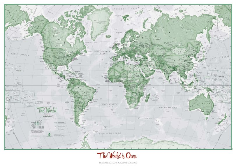 Personalised World Is Art - Wall Map Green