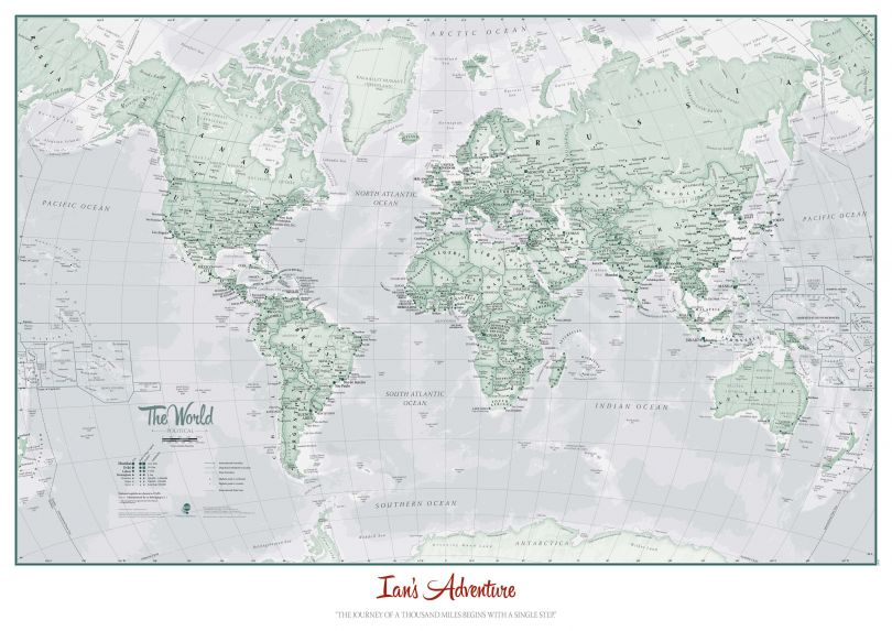 Personalised World Is Art - Wall Map Rustic