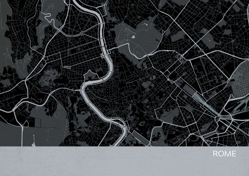 Rome City Street Map Print Charcoal